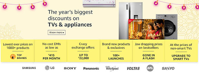 The Year's Biggest Discount on TV & Appliances: Amazon Great Indian festival Sale: eAskme