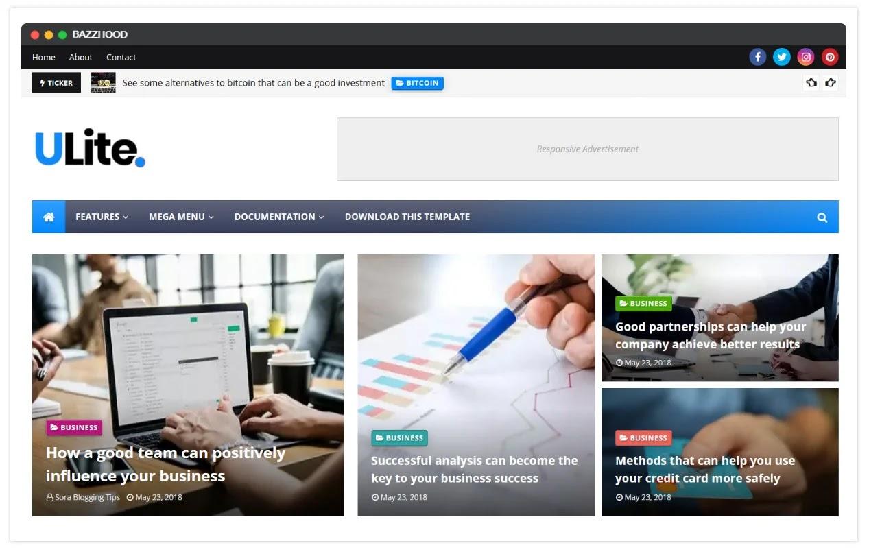 UltraLite Responsive News Magazine Google Blogger Template 2020
