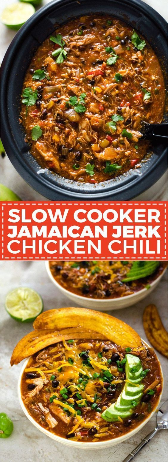 SLOW COOKER JAMAICAN JERK CHICKEN CHILI WITH PLANTAIN CHIPS