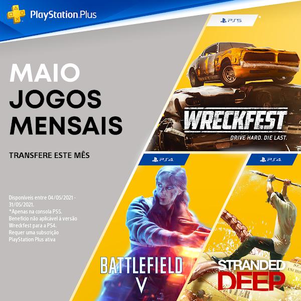 Battlefield TM V, Stranded Deep e Wreckfest: Drive Hard. Die Last. são os jogos do mês de maio no PlayStation®Plus
