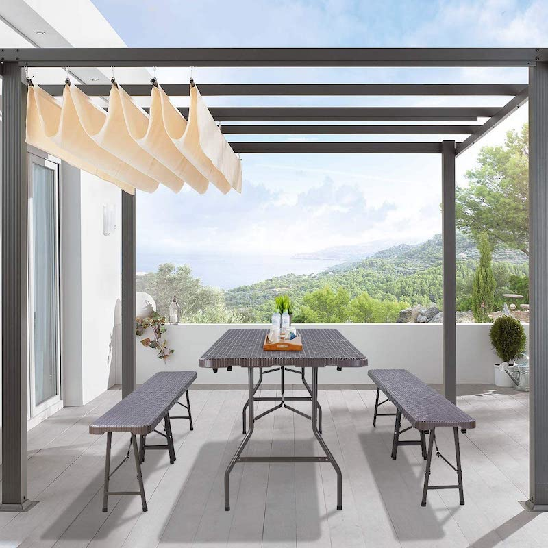 Mesa grande y bancos plegables para terraza