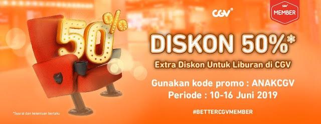 #CGV - #Promo Voucher Diskon 50% Extra Diskon Member Liburan (s.d 16 Juni 2019)