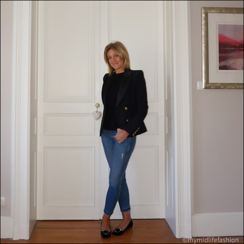 my midlife fashion, Pierre Balmain tuxedo blazer, h and m short sleeve cashmere jumper, j crew 8 inch toothpick jeans, Charlotte Olympia kitty face flats