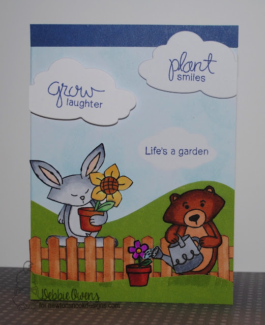 Garden Whimsy Card by Debbie Owens featuring Newton's Nook Deisgns