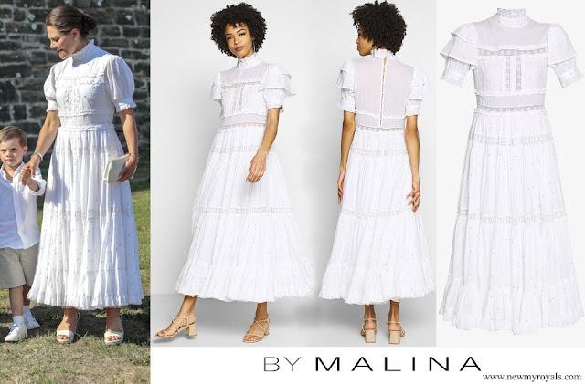 Crown Princess Victoria wore By Malina Iro lace insert midi dress