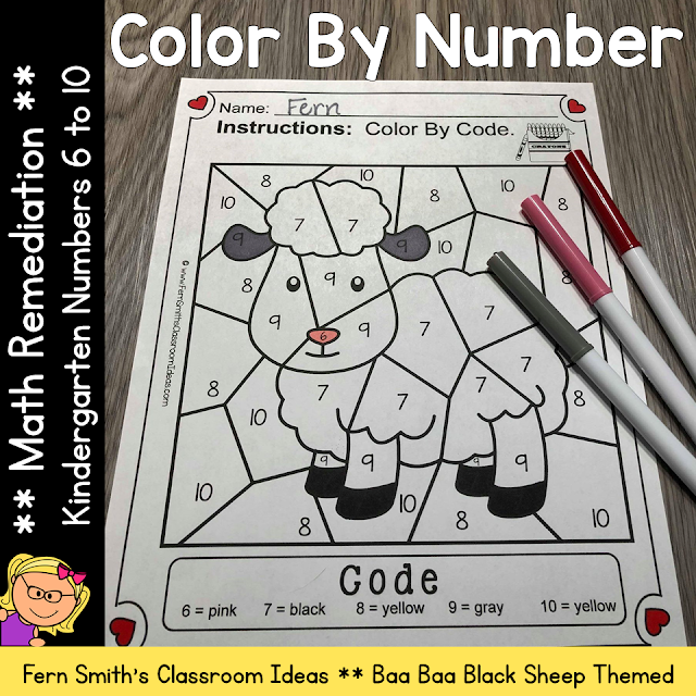 Color By Number Kindergarten Numbers For Math Remediation Numbers 6 to 10 with an adorable Baa Baa Black Sheep theme. If you are looking for a resource for math remediation to still giving your students some confidence while reviewing important math skills, you will love this series. These five Color By Number Kindergarten remediation worksheets focus on Numbers 6 to 10 with a cute Baa Baa Black Sheep theme. As always, answer keys are included. #FernSmithsClassroomIdeas