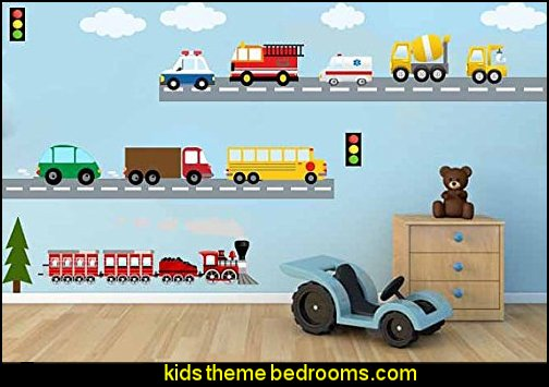 Wall Fabric Decal City Transportation System, Train , Cars, School bus, Fire truck