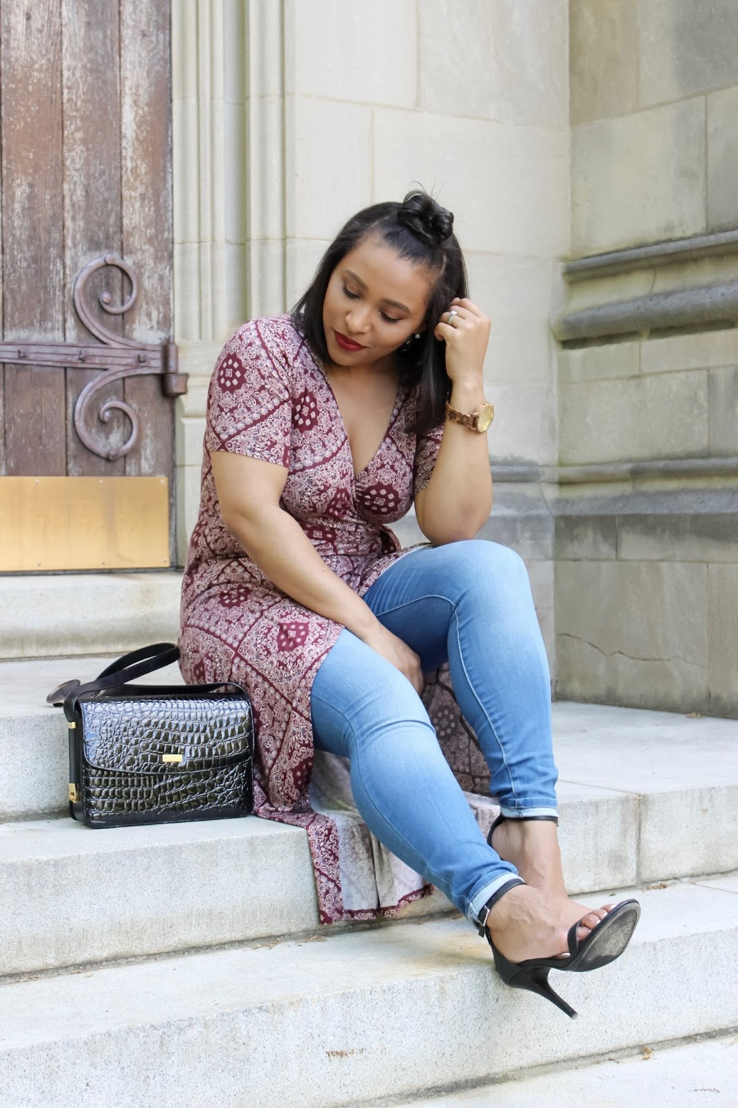 How To Find Your Personal Style On A Budget, wrap dress, forever21 wrap dress, printed wrap dress, top knot, jeans with a wrap dress, lifestyle blogger, how to shop, bargain shopper