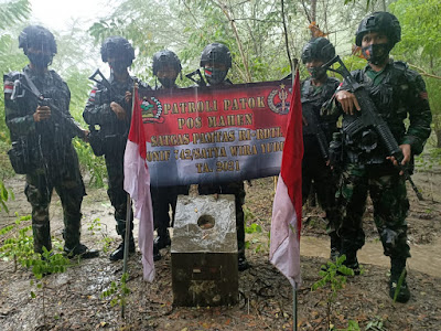 Satgas Pamtas RI-RDTL Yonif 742/SWY Cek 554 Patok Tersebar di wilayah Perbatasan Sektor Timur