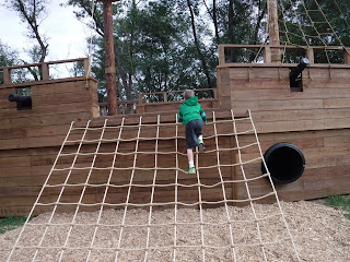 pirate ship play structure at scarecrow farms pumpkin patch