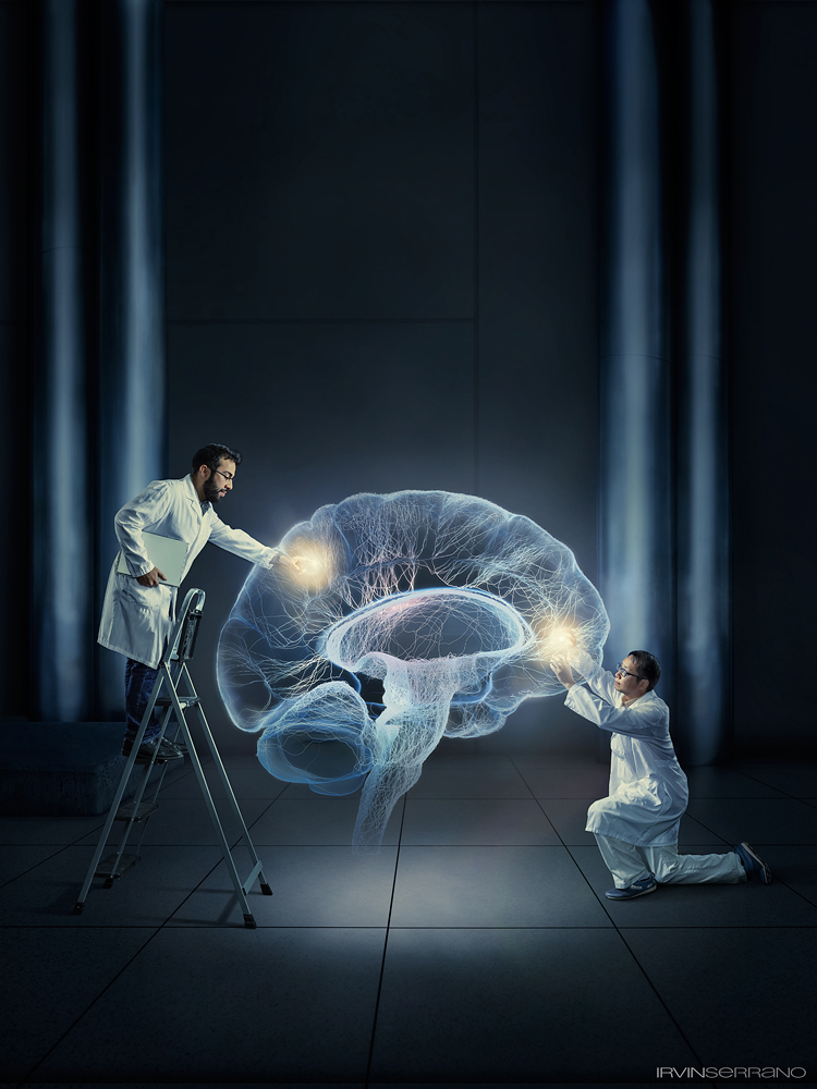 A composite images of two scientists, Dr. Xu and Steve Ramirez, reach into and manipulating a glowing virtual brain .