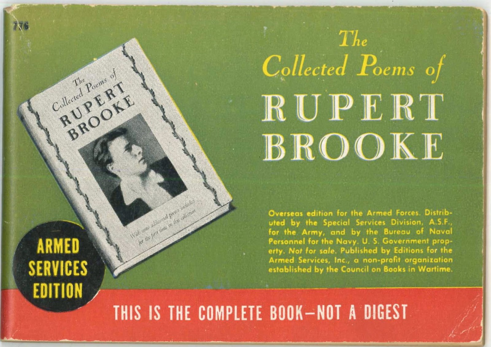 The cover for an armed services edition of Brooke's poems.
