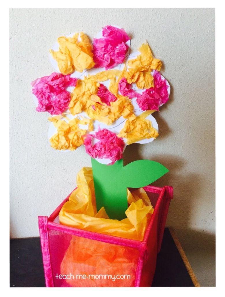 Spring crafts for kids - tissue paper flower craft