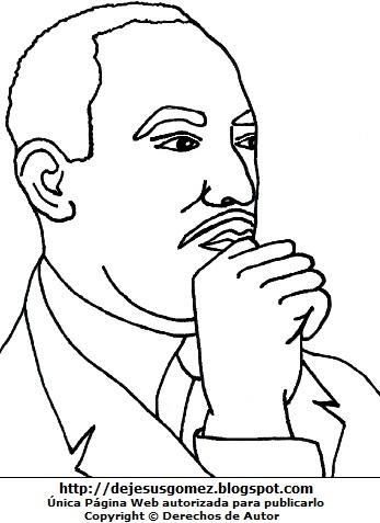 Gráfico de Martín Luther King de perfil para dibujar y colorear. Dibujo de Martín Luther King de Jesus Gómez