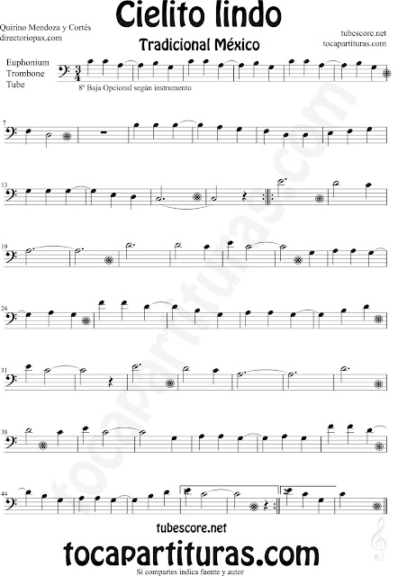 Partitura de Cielito Lindo de Trombón, Tuba Elicón y Bombardino en clave de fa Cielito Lindo Sheet Music for Trombone and Euphonium Quirino Mendoza y Cortés Music Scores (Tuba y contrabajo pueden tocarla en 8ª baja)