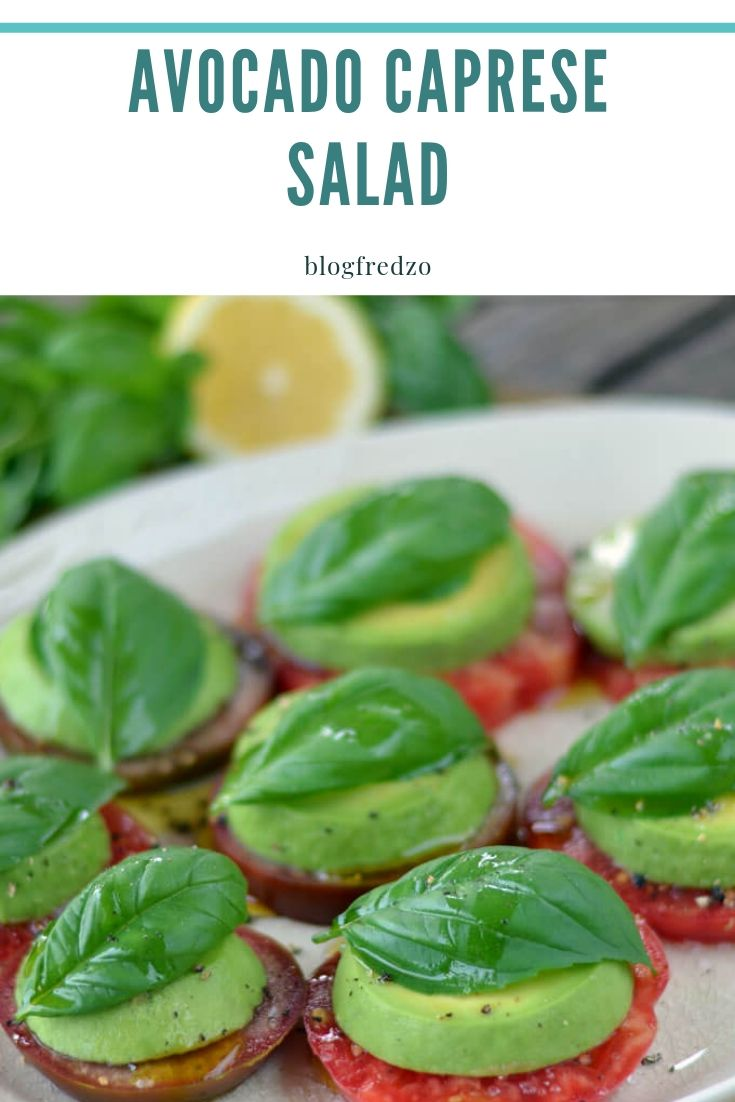 This avocado Caprese salad is bursting with fresh flavors from the garden. It's a deliciously simple dairy-free, gluten-free, paleo, and vegan summer salad that's also keto, low carb and Whole30 friendly.