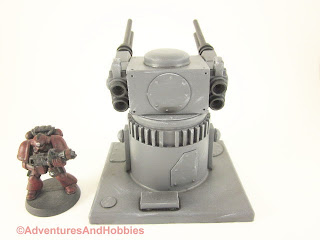 25 to 30mm scale war game scenery weapons gun turret with quad barrel cannons - rear view.