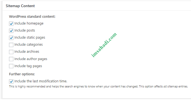 Sitemap Content setting