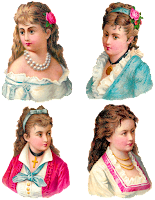 digital collage sheet victorian women antique clipart fashion images