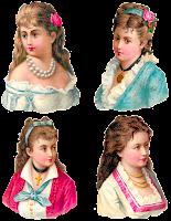 digital collage sheet victorian women antique clipart fashion images