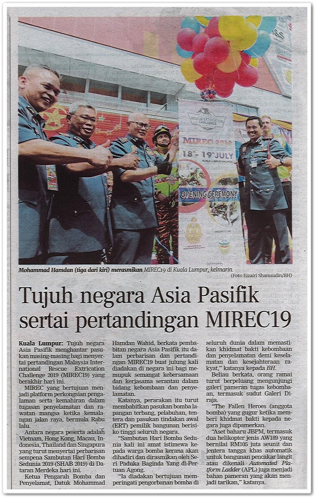 Tujuh negara Asia Pasifik sertai pertandingan MIREC19 - Keratan akhbar Berita Harian 20 Julai 2019