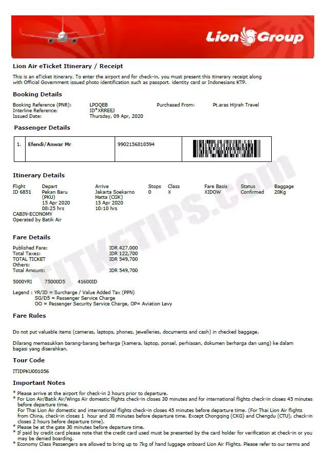 Contoh Print Out E-Tiket Batik Air
