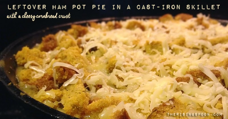 Need a creative way to use up leftover ham? Fix an ultra comforting pot pie recipe! This frugal dish uses homemade skillet cornbread as the crust, which is then topped with shredded cheddar cheese for extra flavor. Hidden beneath the crust are salty ham pieces, carrots, celery, and potatoes in a sauce comprised of homemade chicken stock, white wine, milk and butter. A touch of thyme and garlic powder brings everything together.