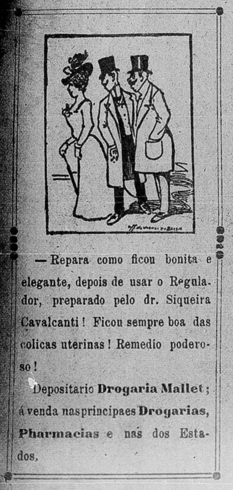 Propaganda veiculada em 1905 promovia um regulador das funções reprodutivas das mulheres