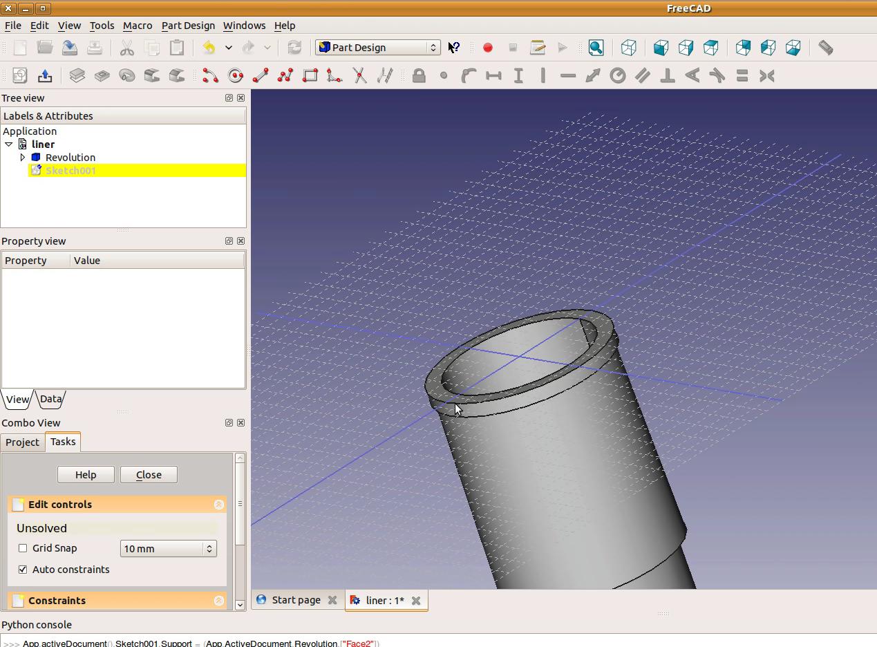 FreeCAD tutorial: Engine: 2 - cylinder liner