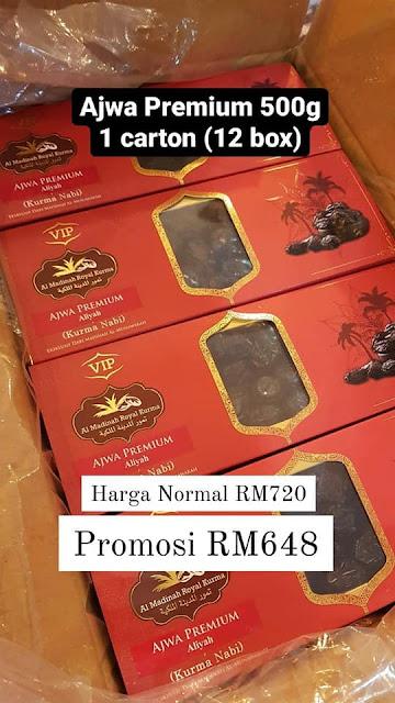 Harga Promosi 1 Karton (12 Kotak) Kurma Ajwa Premium 500g ialah RM648 (Jimat RM72)