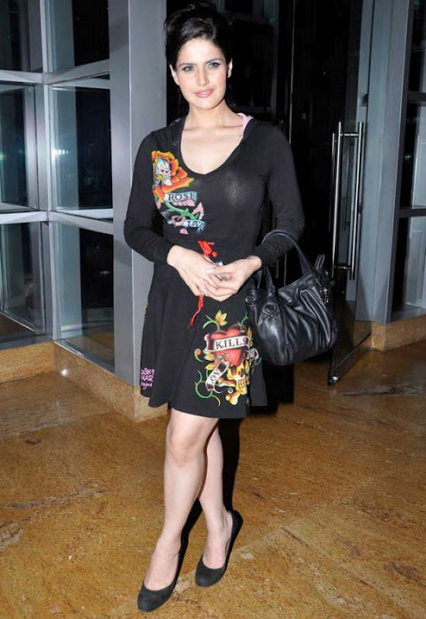 Bollywood actress Zarine Khan News Stills in Black Dress