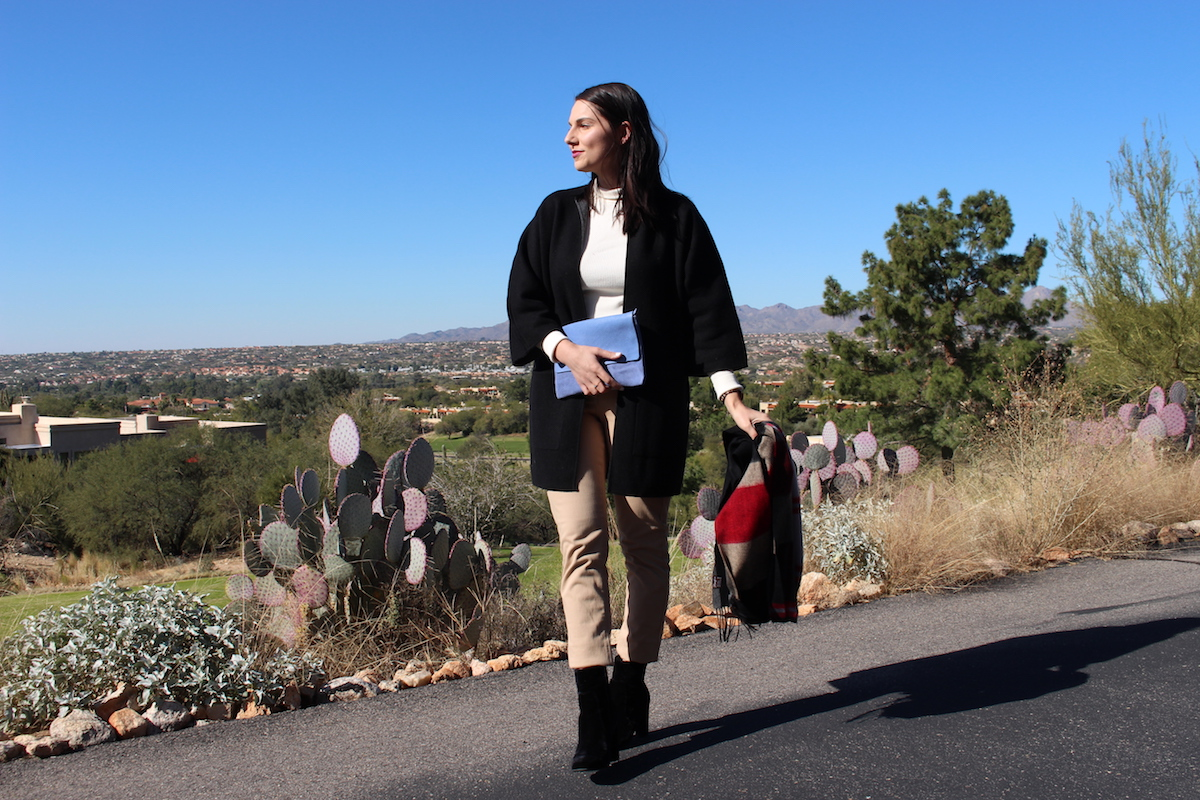 In this photo, I am wearing the same outfit but I've added a black cardigan, black scarf and a light blue clutch.