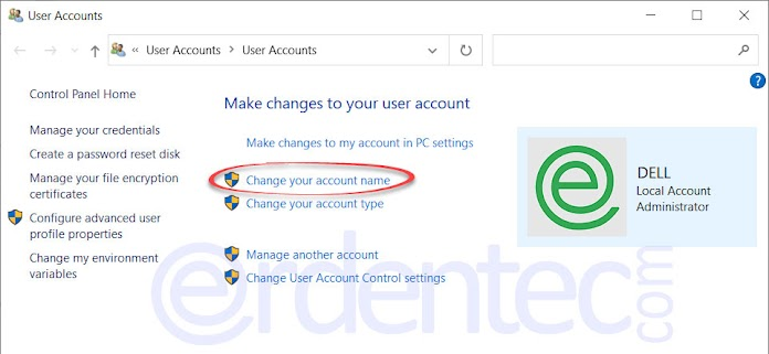 Change Windows 10 Username, Rename User Account