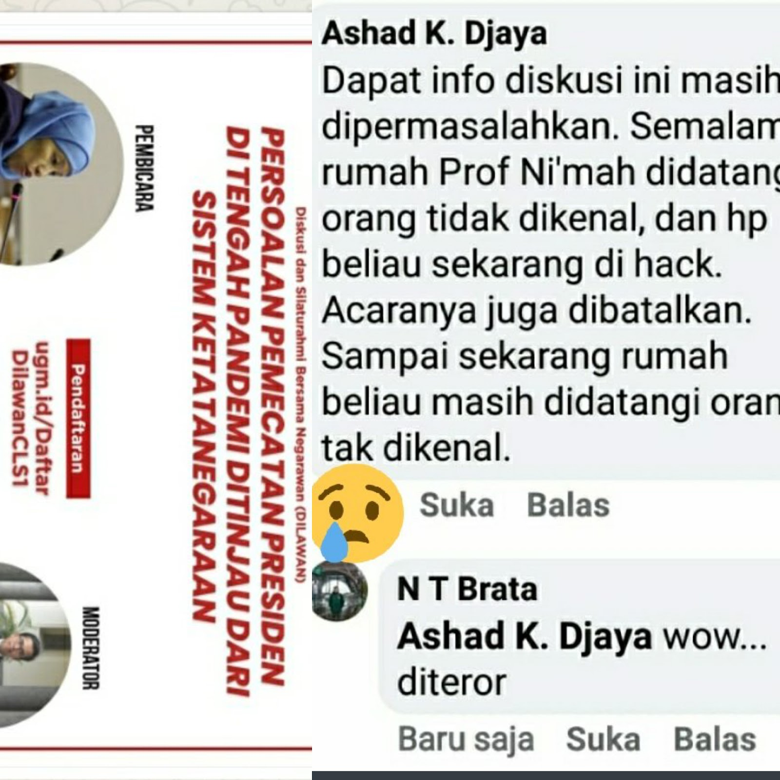 "Panitia Hingga Narasumber Diskusi ""Pemberhentian Jokowi"" Diteror: Digedor dan Dihack!"