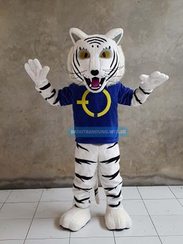 Badut macan maskot baju biru