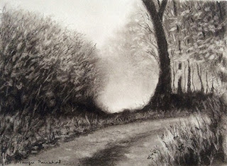 Charcoal sketching of a Coorg forest landscape by Manju Panchal