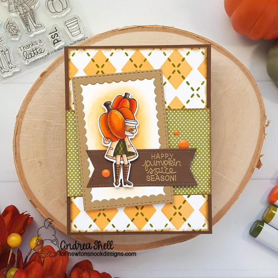 Pumpkin Spice Coffee Card by Andrea Shell | Pumpkin Latte Stamp Set and Argyle Stencil Set by Newton's Nook Designs #newtonsnook #handmade