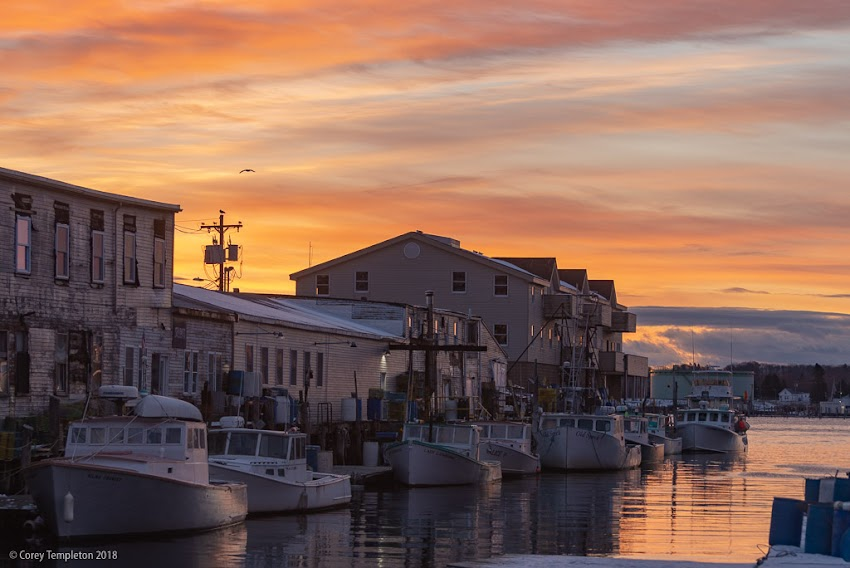 Portland, Maine USA November 2018 photo by Corey Templeton of sunrise over classic view of Custom House Wharf in the Old Port.