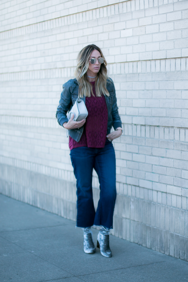 cute fall outfit parlor girl fall jeans fall boots fall bomber jacket