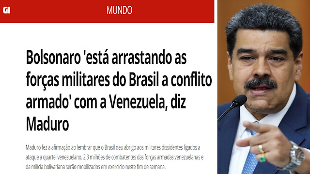 Ditador da Venezuela ameaça atacar o Brasil - a Globo e 6 partidos indicam que estão do lado dele