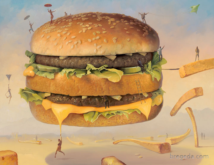 02-Big-Mac-Victor-Bregeda-Surreal-Paintings-Encapsulating-a-Message-www-designstack-co