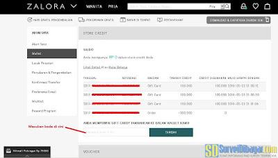 Memasukkan kode voucher di menu Wallet | SurveiDibayar.com