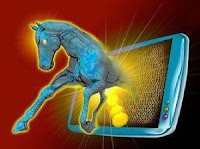 Internet Trojan Horse attack coming out of computer ipad