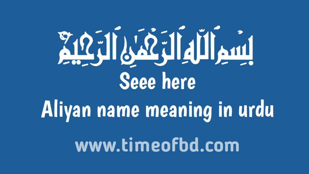 Aliyan name meaning in urdu, اردوان میں الیان نام کا مطلب ہے