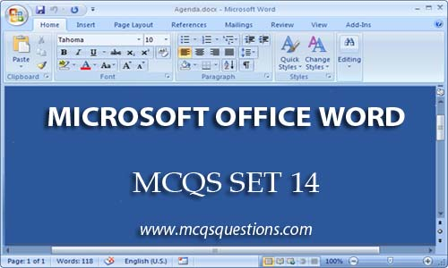 ms word mcqs set 14