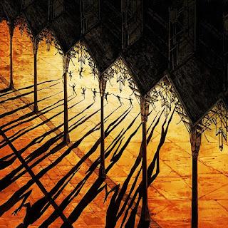 Orange/black artwork of people dancing in a church cloister
