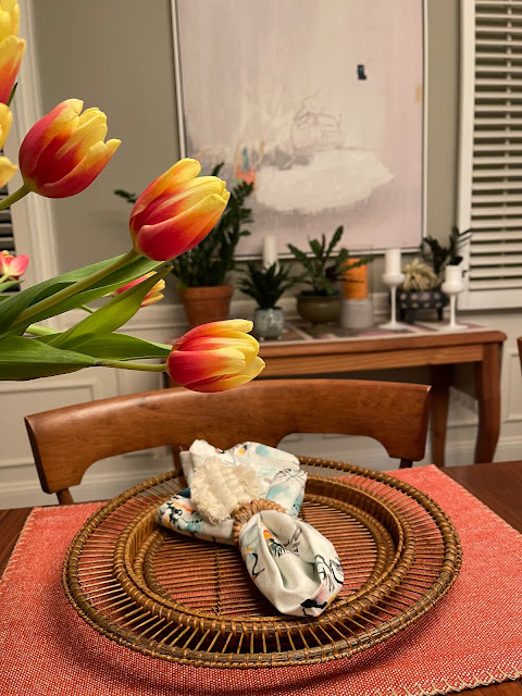 tulips atop a dining table