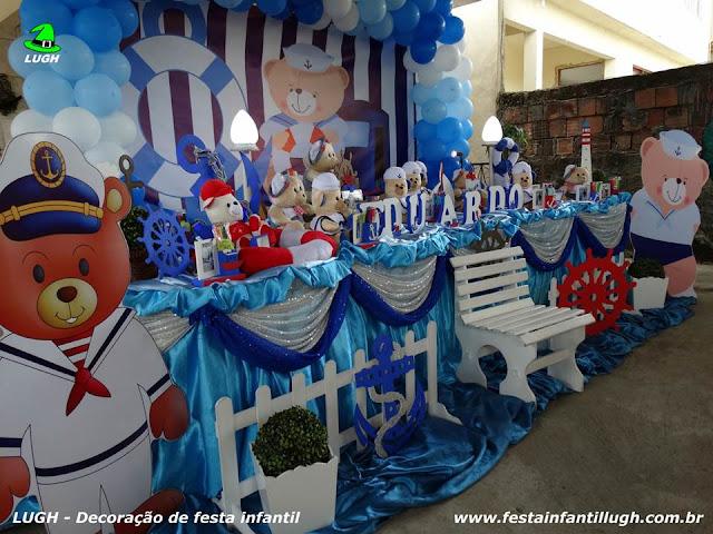 Decoração tema Ursinho Marinheiro para festa de aniversário infantil - Decoração de mesa tradicional com toalhas de tecido versão luxo