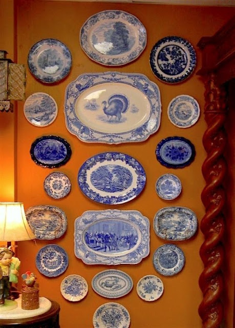 Blue and White Plate Walls- Decor Inspiration