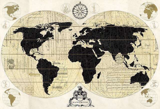 merikartta tapetti Valokuvatapetti world map musta valkoinen